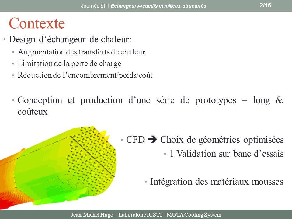 Jean-Michel Hugo – Laboratoire IUSTI – MOTA Cooling System Contexte Design déchangeur de chaleur: Augmentation des transferts de chaleur Limitation de