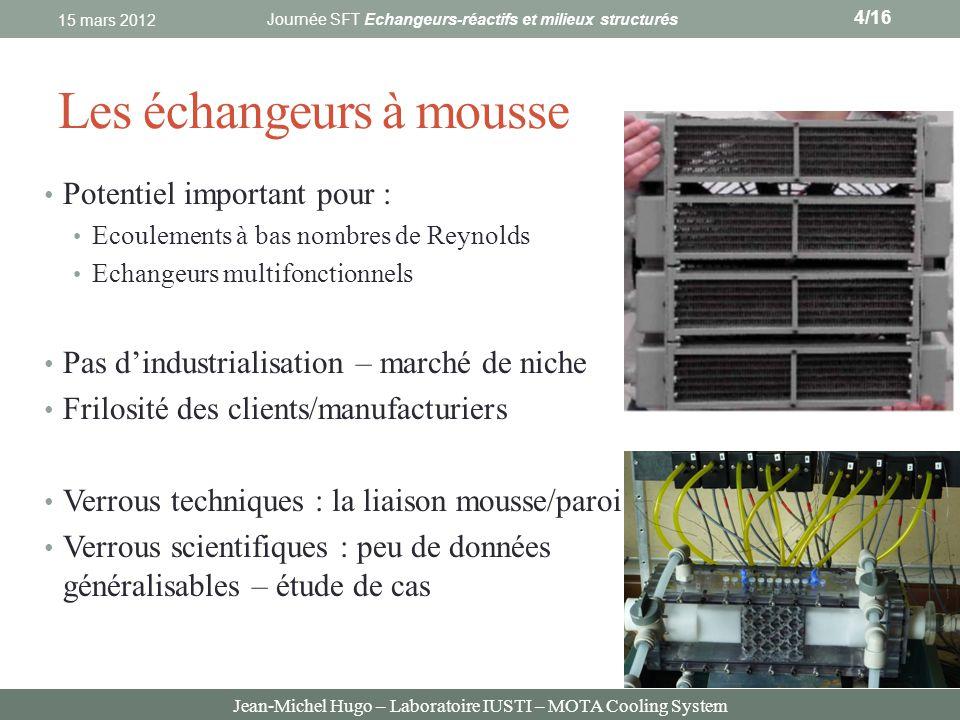 Jean-Michel Hugo – Laboratoire IUSTI – MOTA Cooling System Les échangeurs à mousse Potentiel important pour : Ecoulements à bas nombres de Reynolds Ec