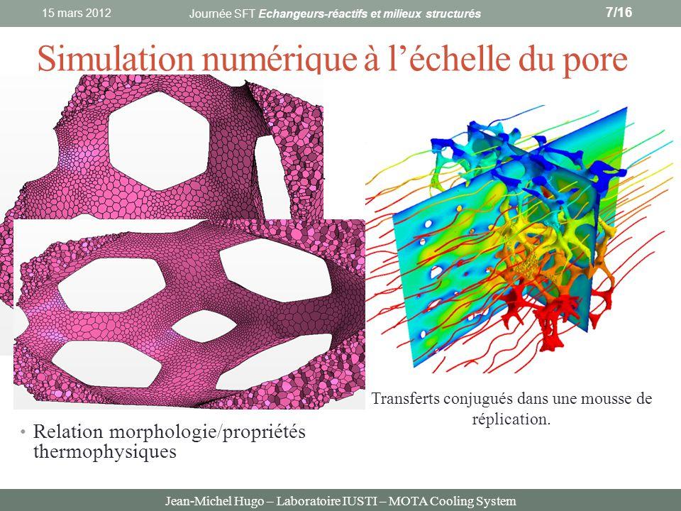 Jean-Michel Hugo – Laboratoire IUSTI – MOTA Cooling System Simulation numérique à léchelle du pore 15 mars 2012 7/16 Reconstruction 3D des mousses à p