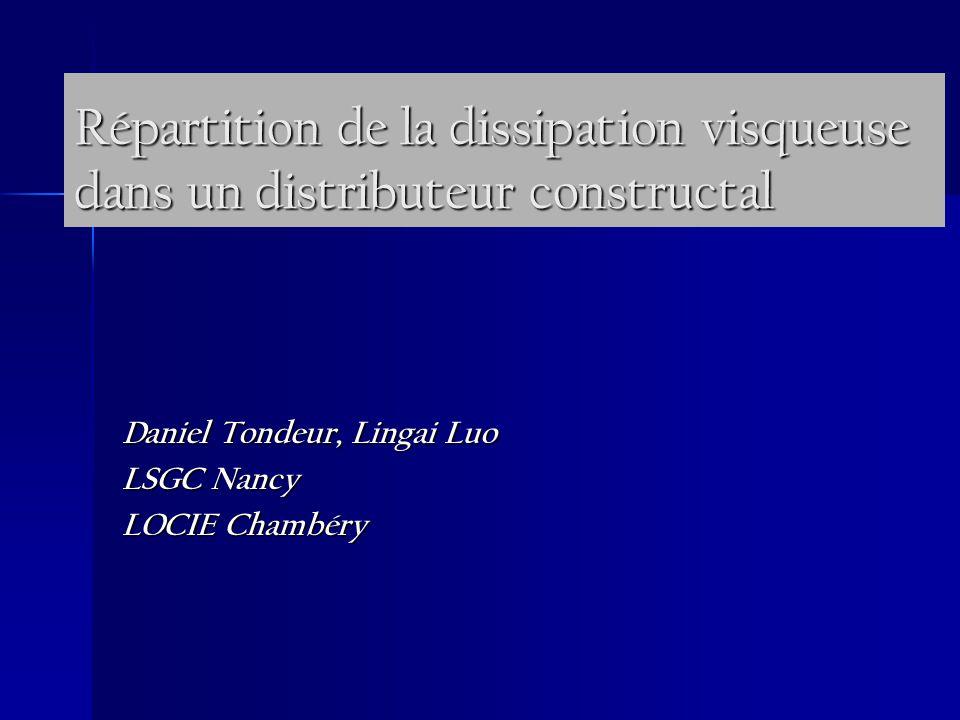 Répartition de la dissipation visqueuse dans un distributeur constructal Daniel Tondeur, Lingai Luo LSGC Nancy LOCIE Chambéry