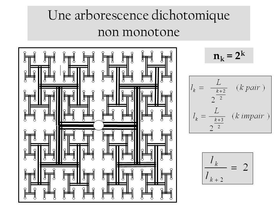 Une arborescence dichotomique non monotone n k = 2 k