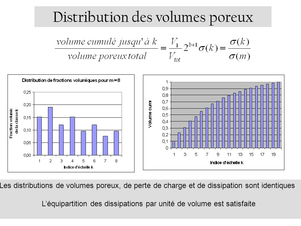 Distribution des volumes poreux Les distributions de volumes poreux, de perte de charge et de dissipation sont identiques Léquipartition des dissipations par unité de volume est satisfaite