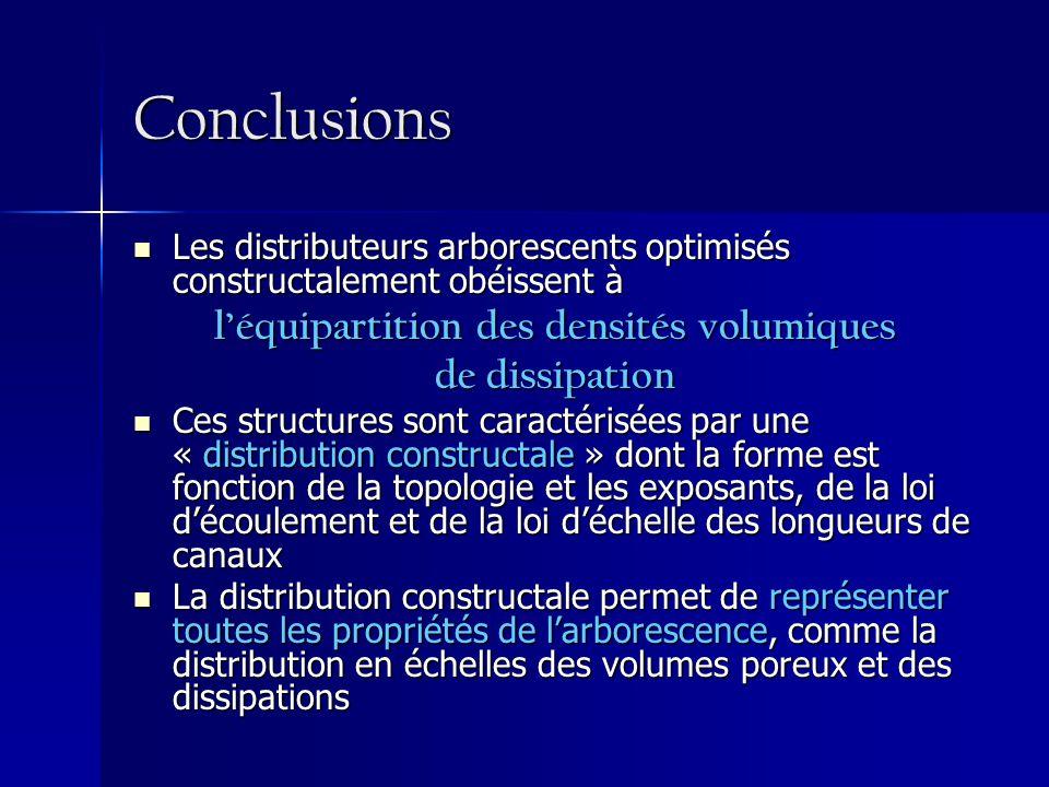 Conclusions Les distributeurs arborescents optimisés constructalement obéissent à Les distributeurs arborescents optimisés constructalement obéissent à léquipartition des densités volumiques de dissipation Ces structures sont caractérisées par une « distribution constructale » dont la forme est fonction de la topologie et les exposants, de la loi découlement et de la loi déchelle des longueurs de canaux Ces structures sont caractérisées par une « distribution constructale » dont la forme est fonction de la topologie et les exposants, de la loi découlement et de la loi déchelle des longueurs de canaux La distribution constructale permet de représenter toutes les propriétés de larborescence, comme la distribution en échelles des volumes poreux et des dissipations La distribution constructale permet de représenter toutes les propriétés de larborescence, comme la distribution en échelles des volumes poreux et des dissipations