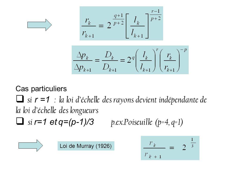 Cas particuliers si r =1 : la loi déchelle des rayons devient indépendante de la loi déchelle des longueurs si r=1 et q=(p-1)/3 p.ex.Poiseuille (p=4, q=1) Loi de Murray (1926)