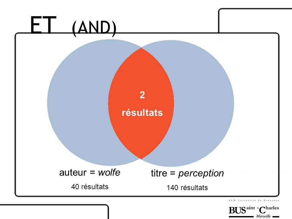 auteur = wolfe 40 résultats titre = perception 140 résultats 2 résultats ET (AND)