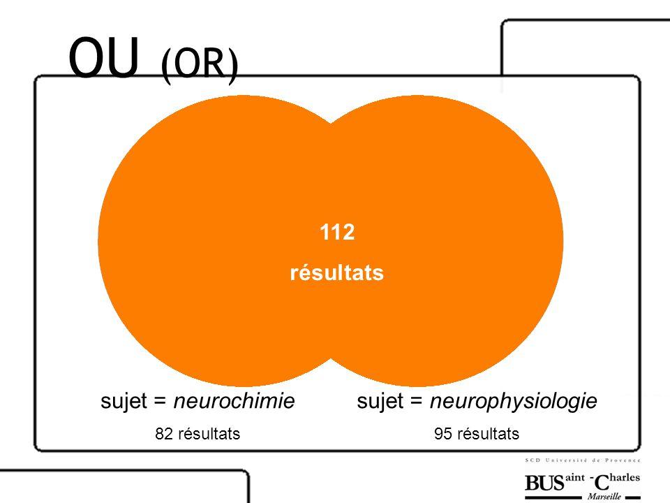 sujet = neurochimie 82 résultats sujet = neurophysiologie 95 résultats 112 résultats OU (OR)