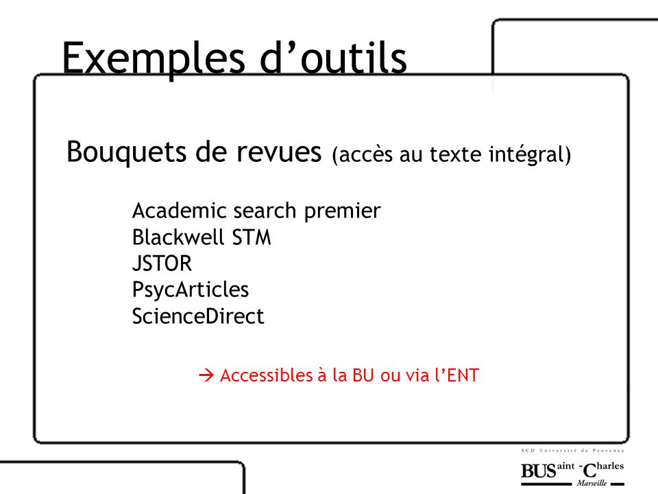 Exemples doutils Bouquets de revues (accès au texte intégral) Academic search premier Blackwell STM JSTOR PsycArticles ScienceDirect Accessibles à la BU ou via lENT