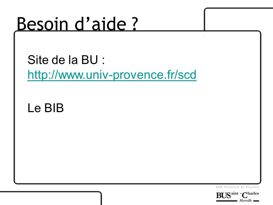 Besoin daide Site de la BU : http://www.univ-provence.fr/scd Le BIB