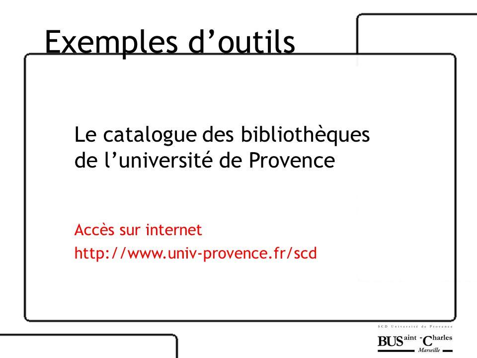 Exemples doutils Le catalogue des bibliothèques de luniversité de Provence Accès sur internet http://www.univ-provence.fr/scd