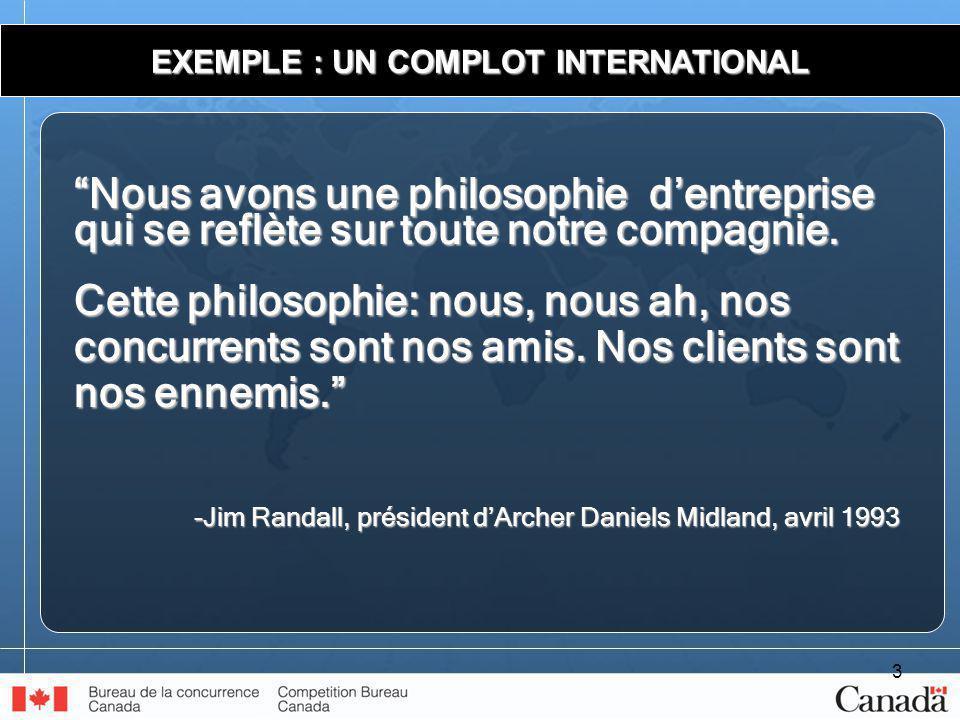 3 EXEMPLE : UN COMPLOT INTERNATIONAL Nous avons une philosophie dentreprise qui se reflète sur toute notre compagnie.