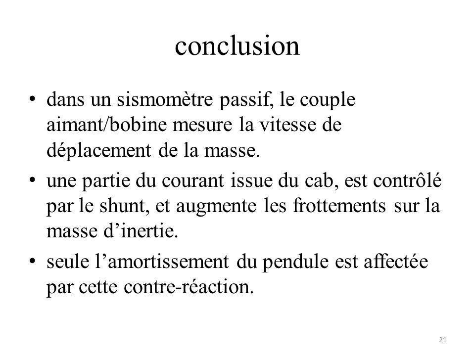conclusion dans un sismomètre passif, le couple aimant/bobine mesure la vitesse de déplacement de la masse. une partie du courant issue du cab, est co