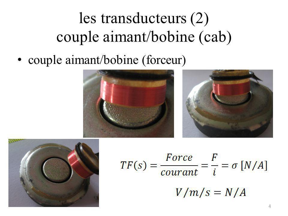les transducteurs (2) couple aimant/bobine (cab) couple aimant/bobine (forceur) 4