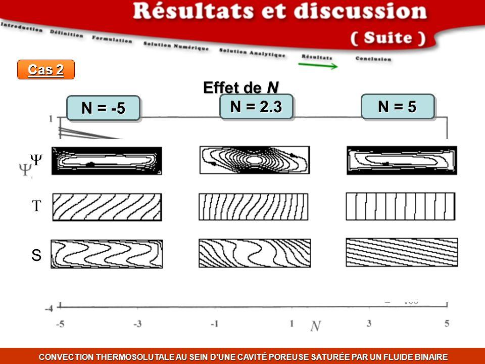 CONVECTION THERMOSOLUTALE AU SEIN DUNE CAVITÉ POREUSE SATURÉE PAR UN FLUIDE BINAIRE Cas 2 Effet de N S N = -5 N = 2.3 N = 5