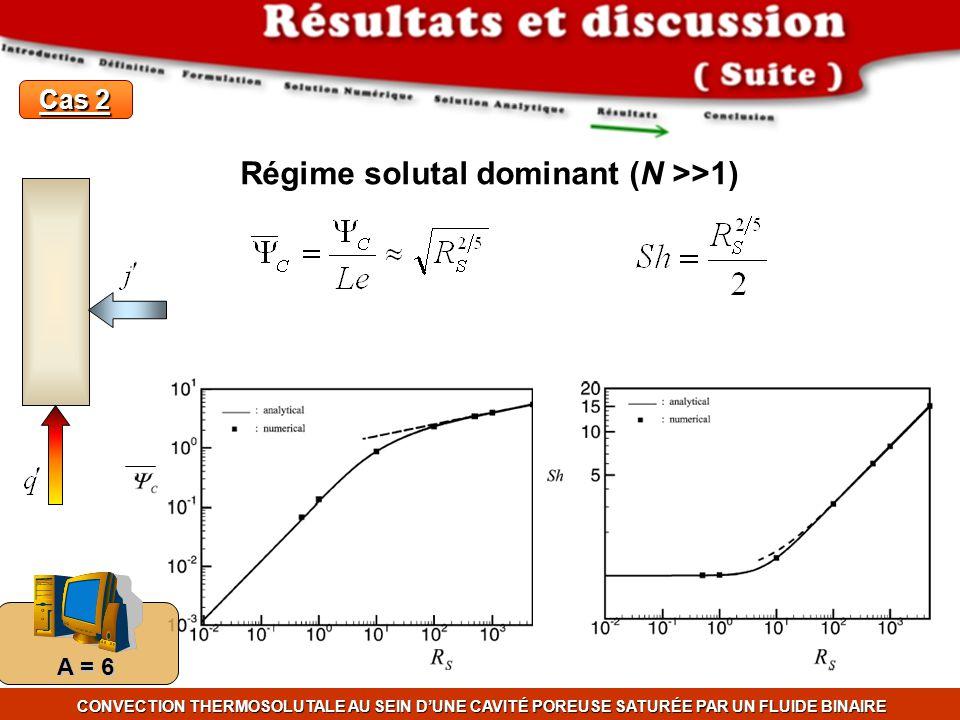 CONVECTION THERMOSOLUTALE AU SEIN DUNE CAVITÉ POREUSE SATURÉE PAR UN FLUIDE BINAIRE A = 6 Cas 2 Régime solutal dominant (N >>1)