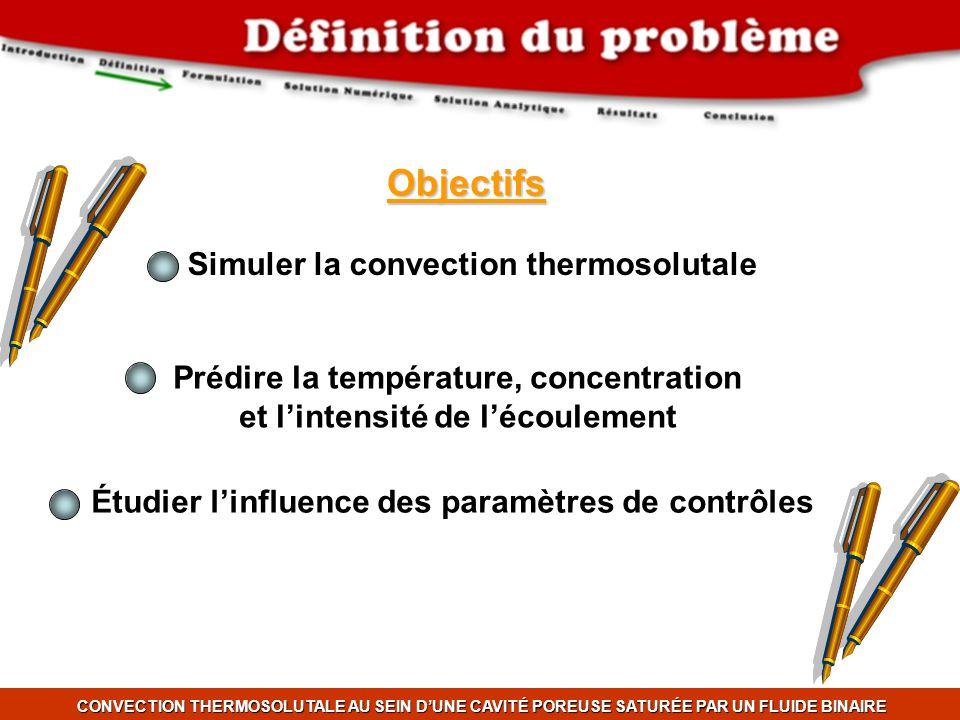 CONVECTION THERMOSOLUTALE AU SEIN DUNE CAVITÉ POREUSE SATURÉE PAR UN FLUIDE BINAIRE Objectifs Simuler la convection thermosolutale Prédire la températ