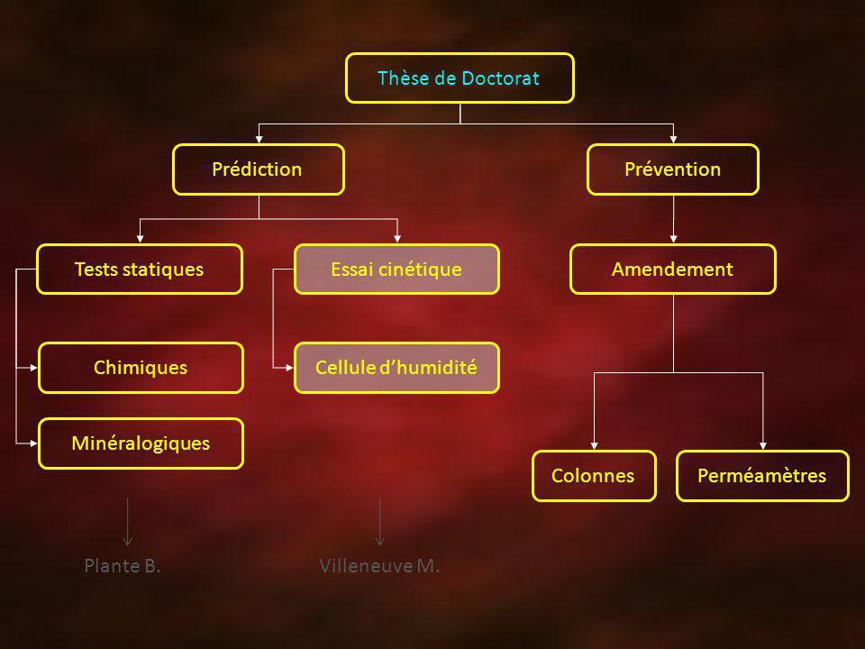 Thèse de Doctorat Prédiction Prévention Tests statiquesEssai cinétiqueAmendement Cellule dhumiditéChimiques Minéralogiques ColonnesPerméamètres Plante B.Villeneuve M.