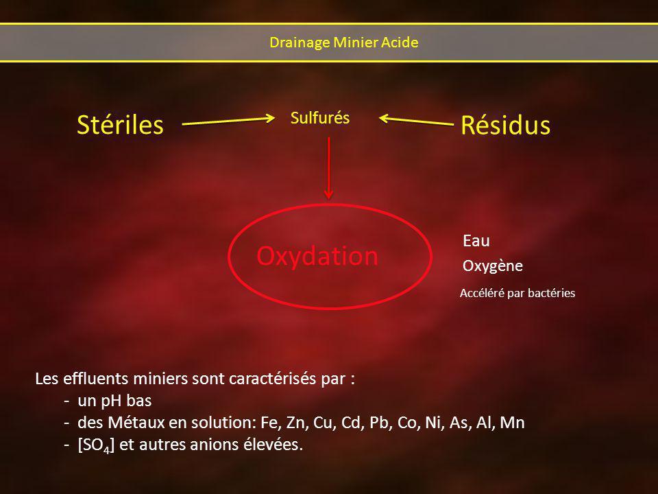 Eau Stériles Résidus Sulfurés Oxydation Accéléré par bactéries Oxygène Les effluents miniers sont caractérisés par : - un pH bas - des Métaux en solution: Fe, Zn, Cu, Cd, Pb, Co, Ni, As, Al, Mn - [SO 4 ] et autres anions élevées.