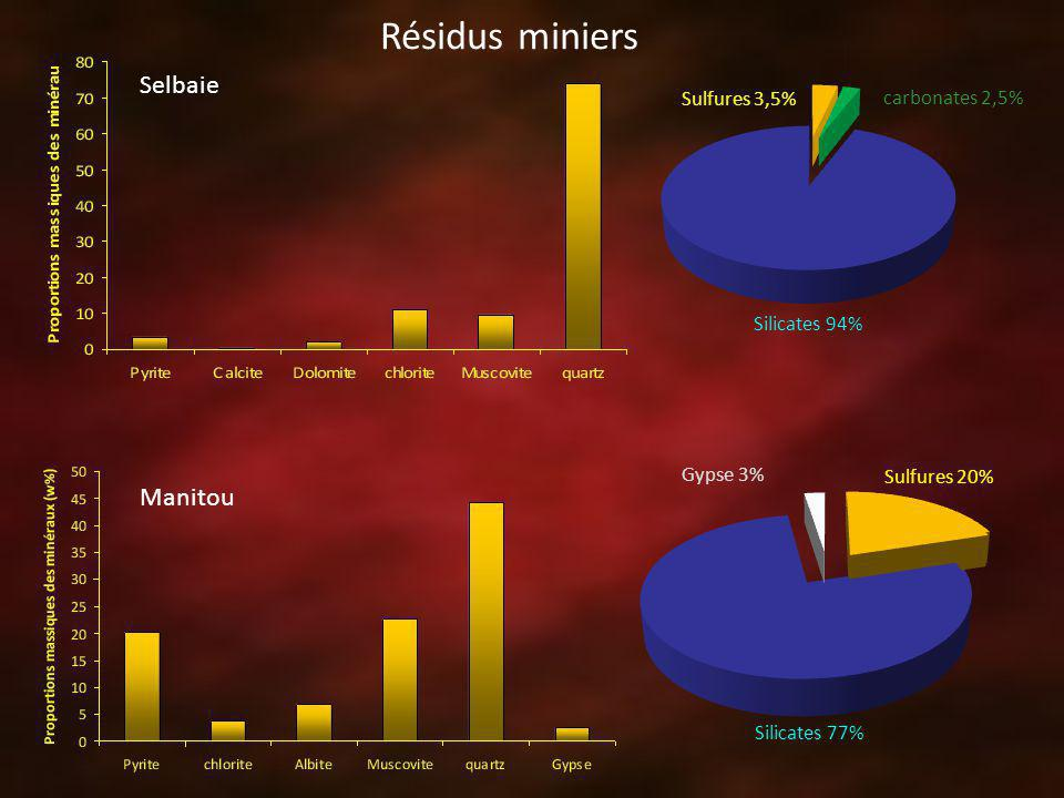 Sulfures 3,5% carbonates 2,5% Silicates 94% Manitou Selbaie Sulfures 20% Silicates 77% Gypse 3% Résidus miniers