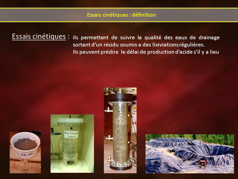 Essais cinétiques : Essais cinétiques : définition ils permettent de suivre la qualité des eaux de drainage sortant dun résidu soumis a des lixiviations régulières.