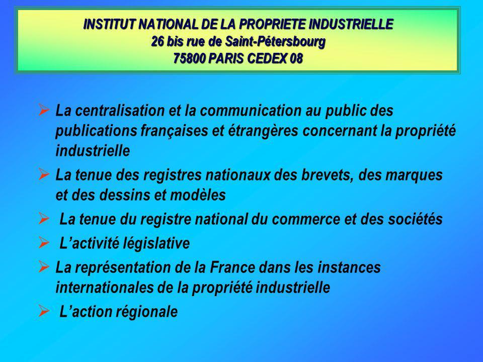 LInstitut National de la Propriété Industrielle est un établissement public de lÉtat dont les attributions et l organisation ont été définies par la l