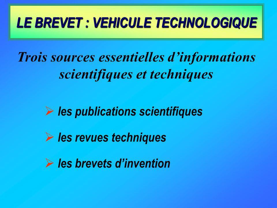 LE BREVET : VEHICULE TECHNOLOGIQUE les publications scientifiques les revues techniques les brevets dinvention Trois sources essentielles dinformations scientifiques et techniques