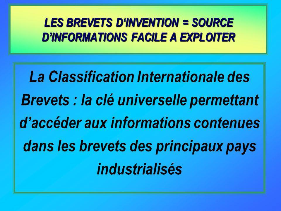 La Classification Internationale des Brevets : la clé universelle permettant daccéder aux informations contenues dans les brevets des principaux pays industrialisés LES BREVETS DINVENTION = SOURCE DINFORMATIONS FACILE A EXPLOITER
