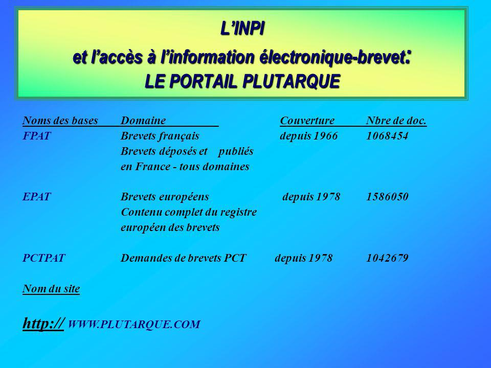 LINPI et laccès à linformation électronique-brevet : LE PORTAIL PLUTARQUE Noms des basesDomaine CouvertureNbre de doc.