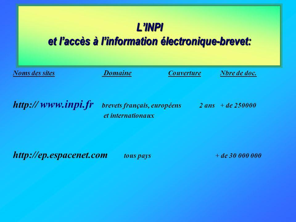 LINPI et laccès à linformation électronique-brevet : LE PORTAIL PLUTARQUE Noms des basesDomaine CouvertureNbre de doc. FPATBrevets français depuis 196