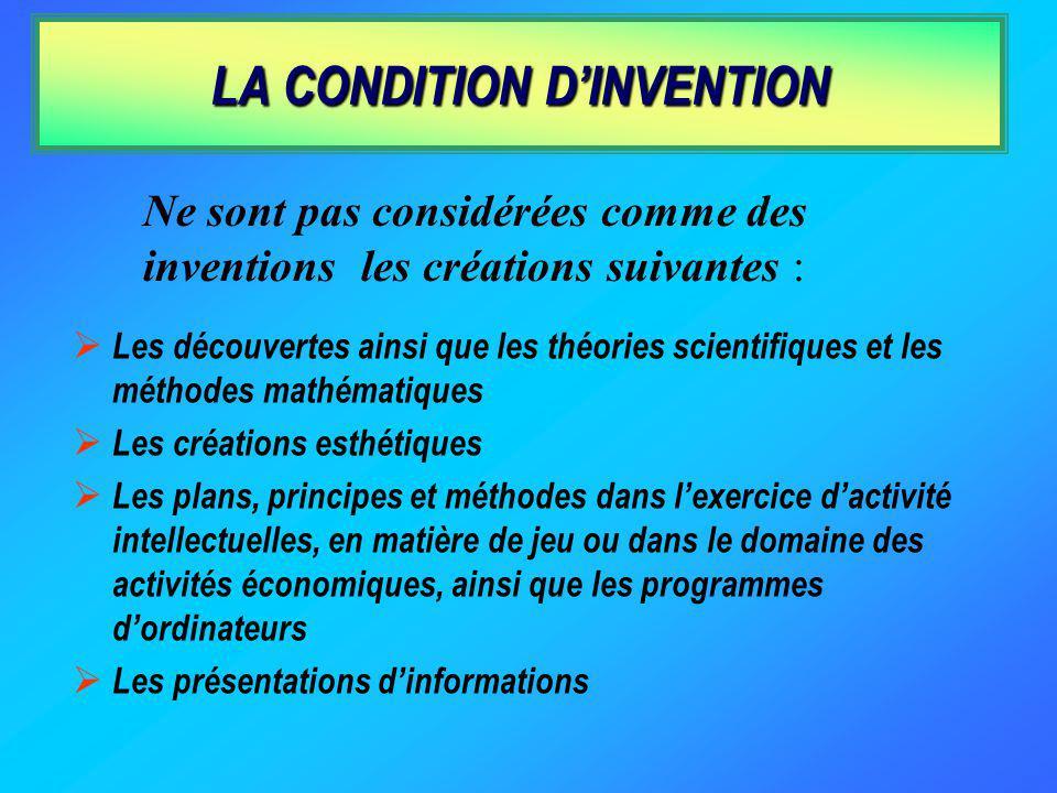 POUR ETRE BREVETABLE, LA CREATION DOIT ETRE : une invention …...susceptible dapplication industrielle......nouvelle......impliquant une activité inven