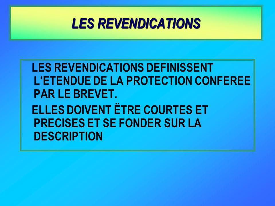 LES REVENDICATIONS LES REVENDICATIONS DEFINISSENT LETENDUE DE LA PROTECTION CONFEREE PAR LE BREVET.
