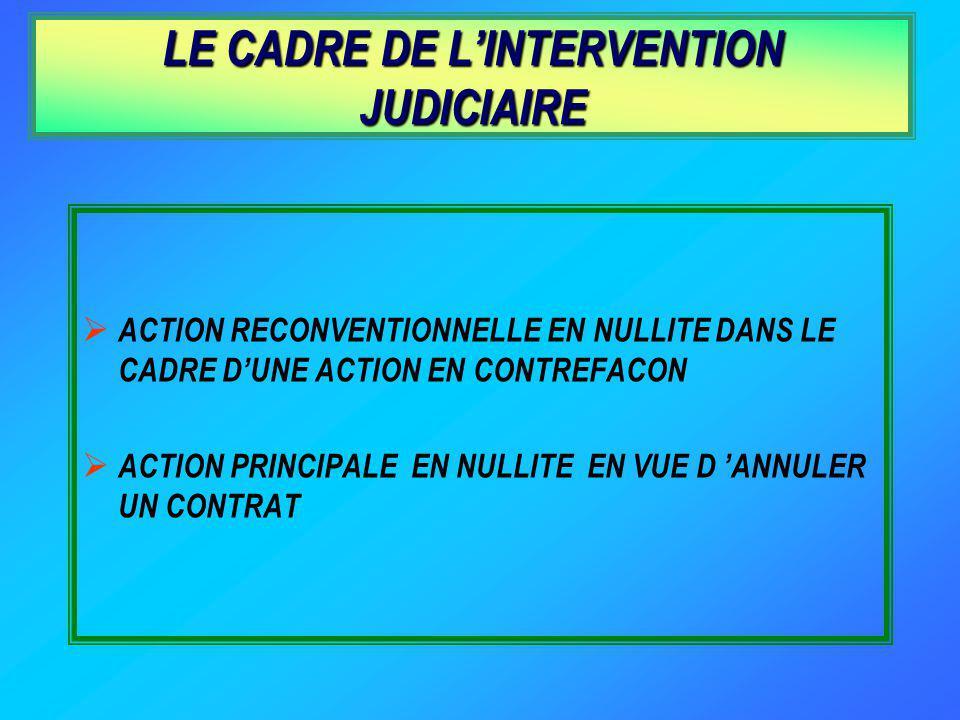 LE CADRE DE LINTERVENTION JUDICIAIRE ACTION RECONVENTIONNELLE EN NULLITE DANS LE CADRE DUNE ACTION EN CONTREFACON ACTION PRINCIPALE EN NULLITE EN VUE D ANNULER UN CONTRAT