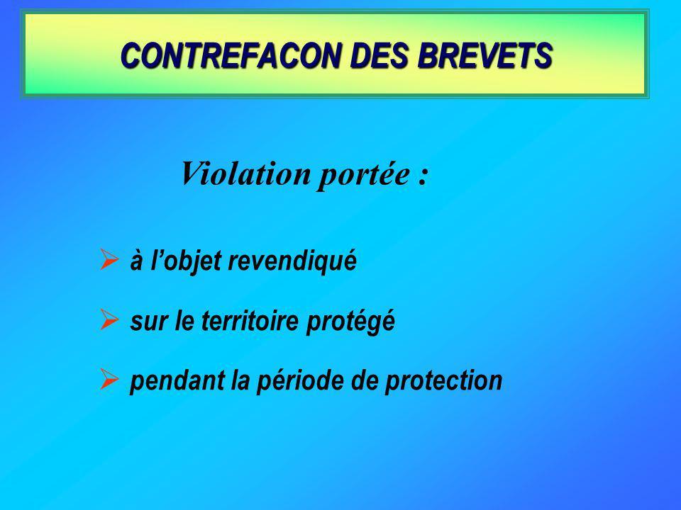 CONTREFACON DES BREVETS à lobjet revendiqué sur le territoire protégé pendant la période de protection Violation portée :