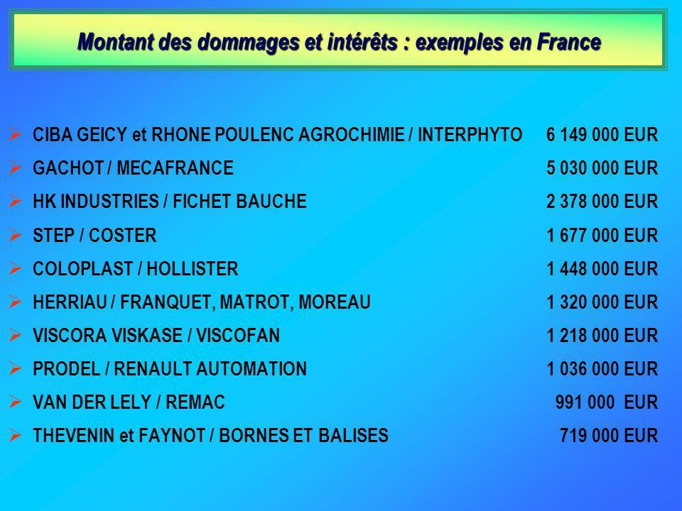 Montant des dommages et intérêts : exemples en France CIBA GEICY et RHONE POULENC AGROCHIMIE / INTERPHYTO GACHOT / MECAFRANCE HK INDUSTRIES / FICHET BAUCHE STEP / COSTER COLOPLAST / HOLLISTER HERRIAU / FRANQUET, MATROT, MOREAU VISCORA VISKASE / VISCOFAN PRODEL / RENAULT AUTOMATION VAN DER LELY / REMAC THEVENIN et FAYNOT / BORNES ET BALISES 6 149 000 EUR 5 030 000 EUR 2 378 000 EUR 1 677 000 EUR 1 448 000 EUR 1 320 000 EUR 1 218 000 EUR 1 036 000 EUR 991 000 EUR 719 000 EUR