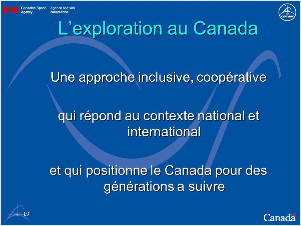 19 Lexploration au Canada Une approche inclusive, coopérative qui répond au contexte national et international et qui positionne le Canada pour des générations a suivre