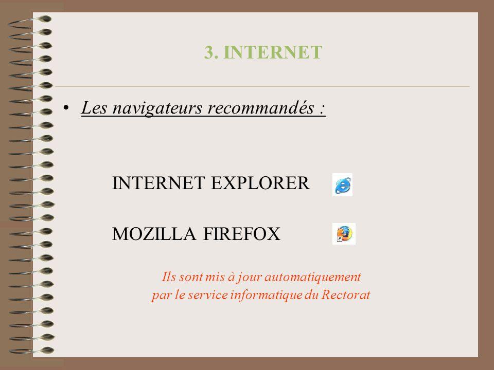 3. INTERNET Les navigateurs recommandés : INTERNET EXPLORER MOZILLA FIREFOX Ils sont mis à jour automatiquement par le service informatique du Rectora
