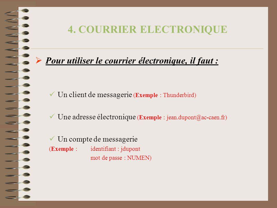 4. COURRIER ELECTRONIQUE Pour utiliser le courrier électronique, il faut : Un client de messagerie (Exemple : Thunderbird) Une adresse électronique (E