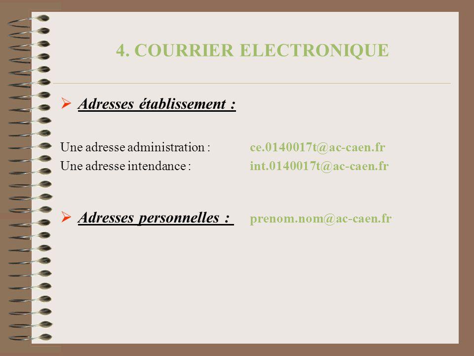 4. COURRIER ELECTRONIQUE Adresses établissement : Une adresse administration : ce.0140017t@ac-caen.fr Une adresse intendance : int.0140017t@ac-caen.fr