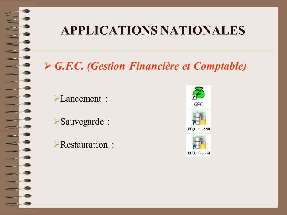 APPLICATIONS NATIONALES SCONET G.F.E. (Gestion Financière Elèves)