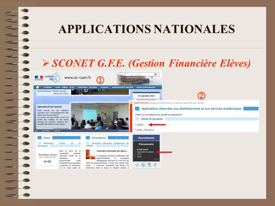 APPLICATIONS NATIONALES SCONET G.F.E.(Gestion Financière Elèves) 1.