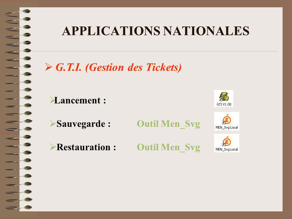 APPLICATIONS NATIONALES PRESTO (Gestion des Stocks) Lancement : Sauvegarde :Outil Men_Svg Restauration :Outil Men_Svg