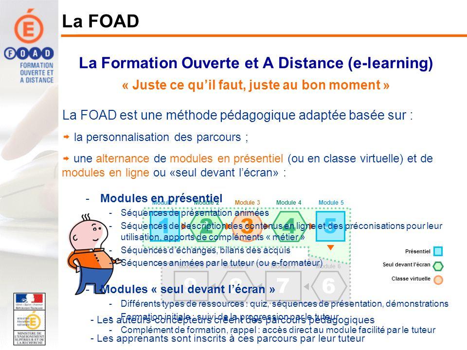 La Formation Ouverte et A Distance (e-learning) « Juste ce quil faut, juste au bon moment » La FOAD La FOAD est une méthode pédagogique adaptée basée