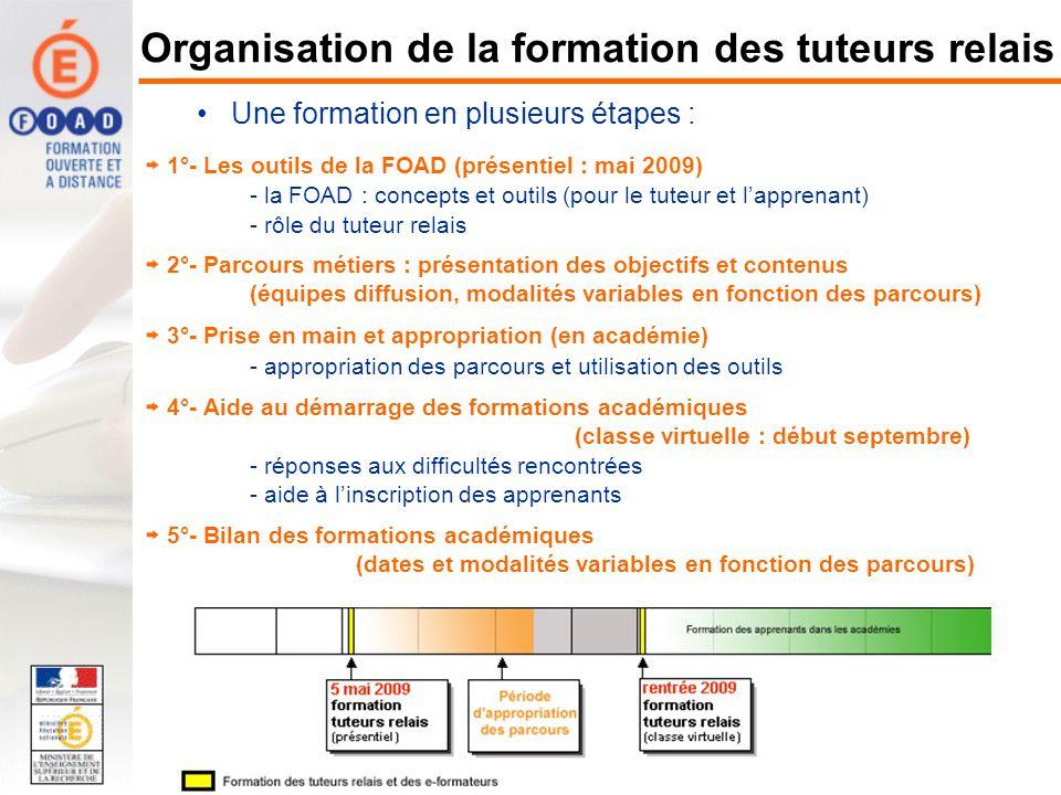 1°- Les outils de la FOAD (présentiel : mai 2009) - la FOAD : concepts et outils (pour le tuteur et lapprenant) - rôle du tuteur relais 2°- Parcours m