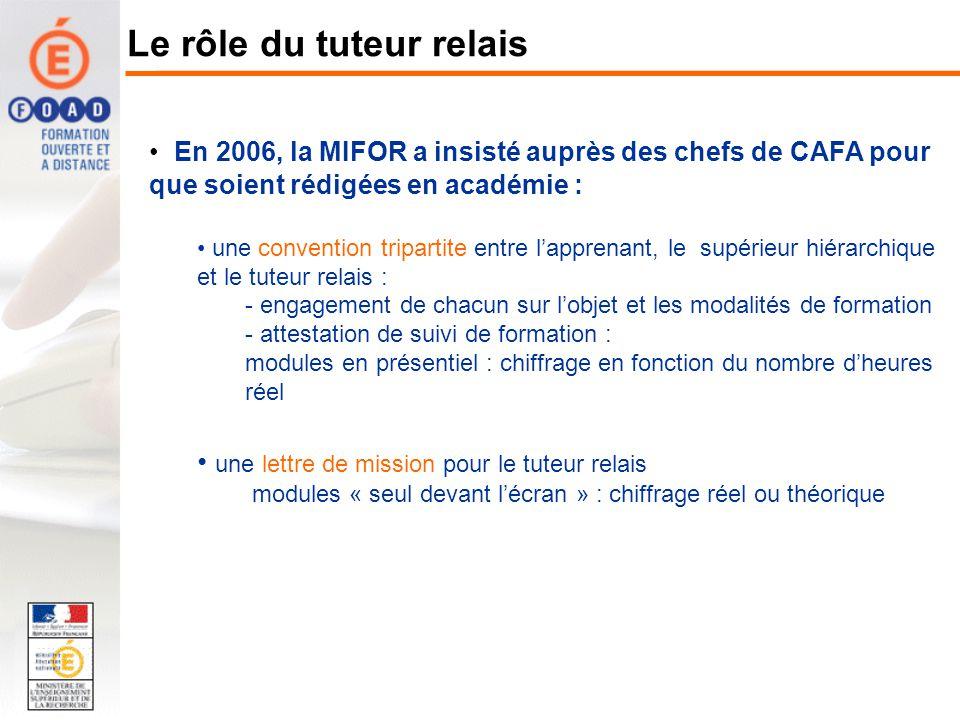 En 2006, la MIFOR a insisté auprès des chefs de CAFA pour que soient rédigées en académie : une convention tripartite entre lapprenant, le supérieur h