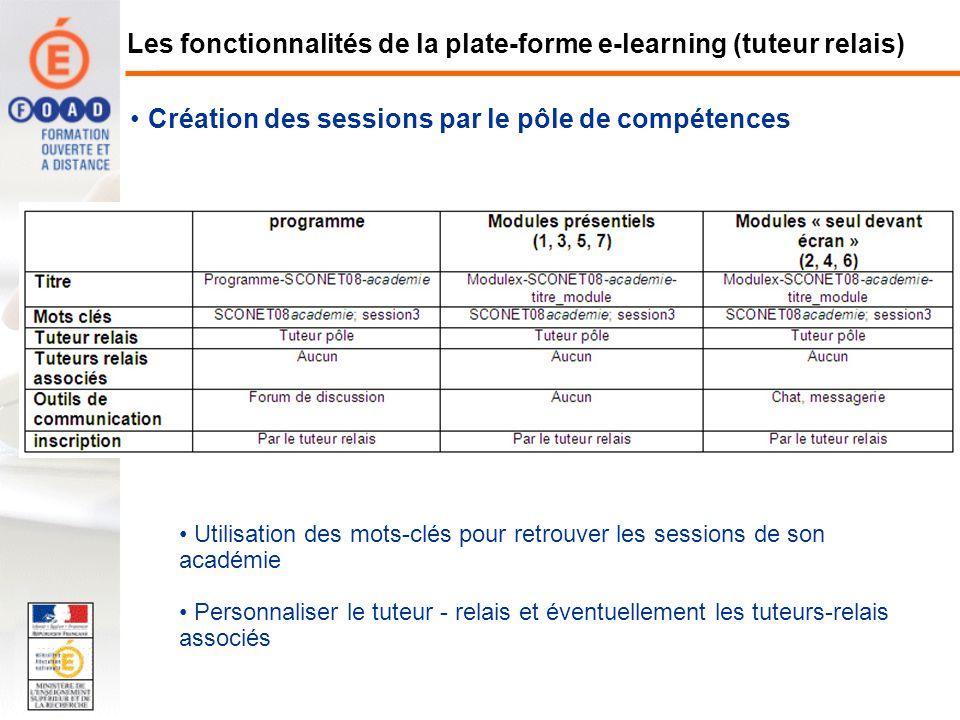 Création des sessions par le pôle de compétences Utilisation des mots-clés pour retrouver les sessions de son académie Personnaliser le tuteur - relai