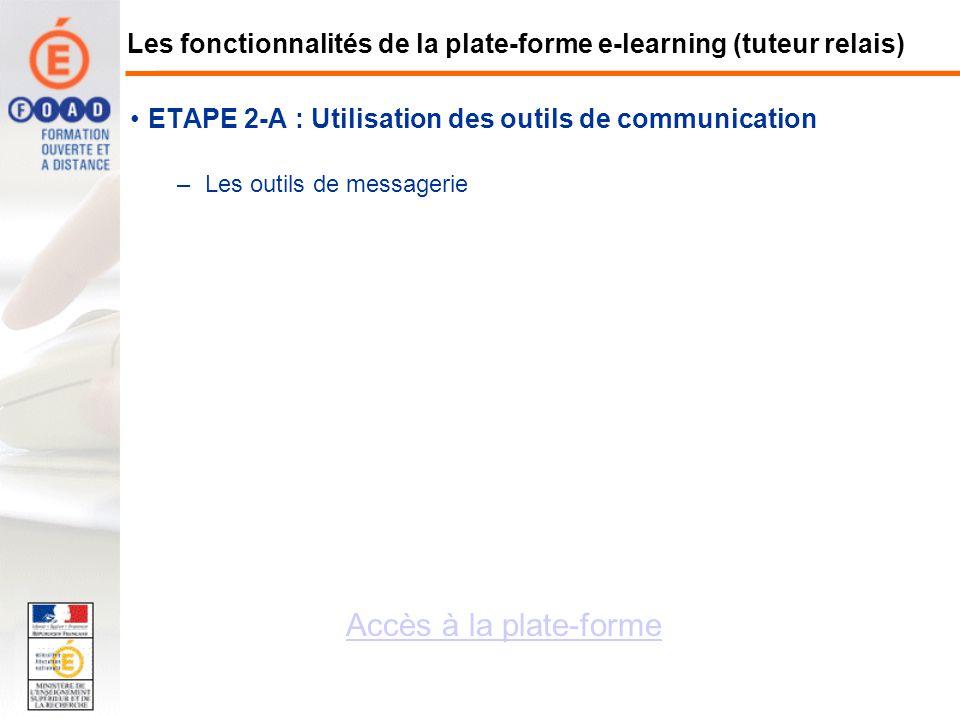 ETAPE 2-A : Utilisation des outils de communication –Les outils de messagerie Accès à la plate-forme Les fonctionnalités de la plate-forme e-learning
