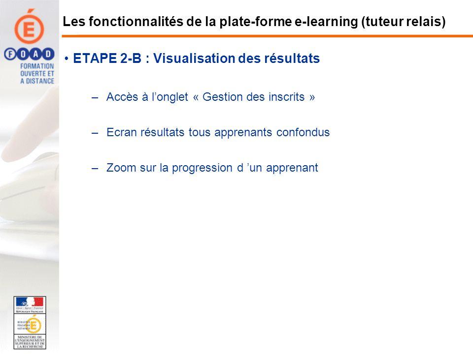 ETAPE 2-B : Visualisation des résultats –Accès à longlet « Gestion des inscrits » –Ecran résultats tous apprenants confondus –Zoom sur la progression