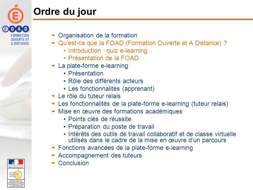 Organisation de la formation Quest-ce que la FOAD (Formation Ouverte et A Distance) ? Introduction : quiz e-learning Présentation de la FOAD La plate-