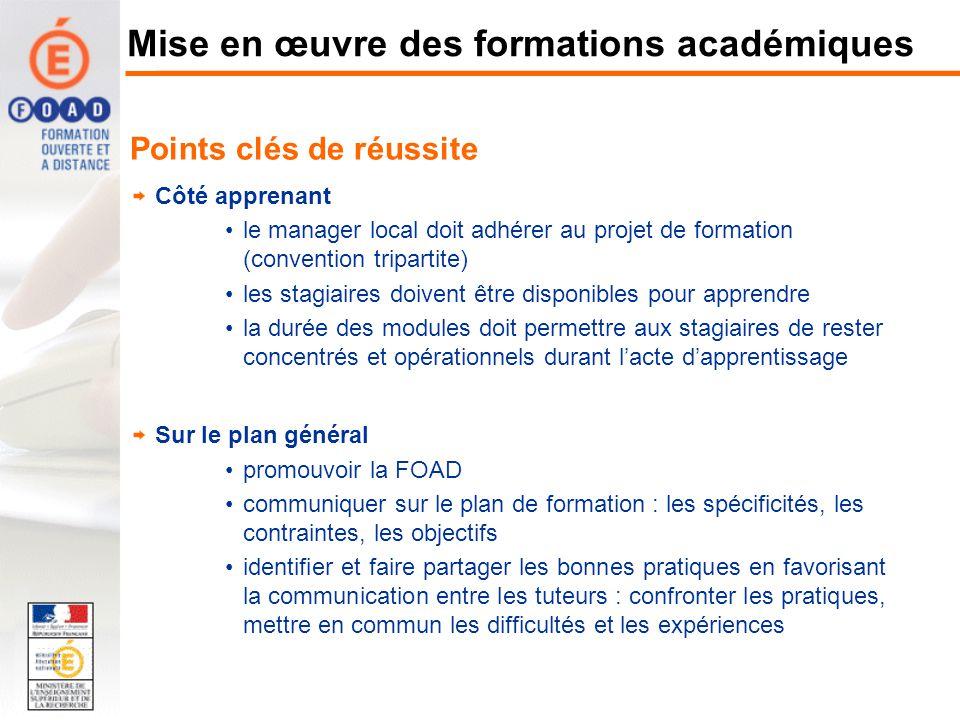 Points clés de réussite Côté apprenant le manager local doit adhérer au projet de formation (convention tripartite) les stagiaires doivent être dispon