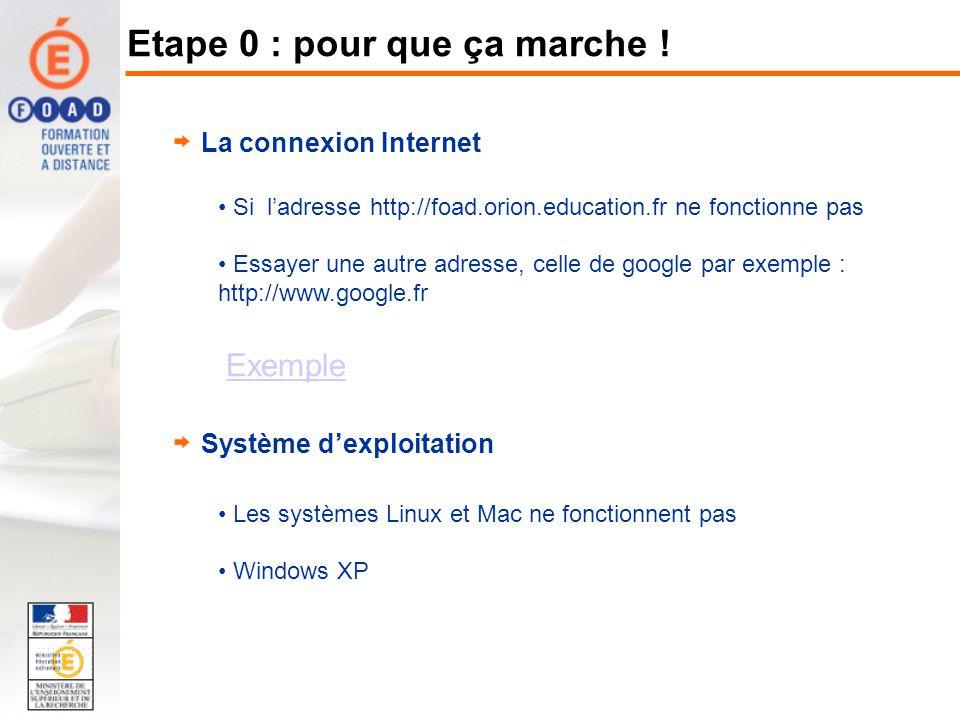 La connexion Internet Si ladresse http://foad.orion.education.fr ne fonctionne pas Essayer une autre adresse, celle de google par exemple : http://www