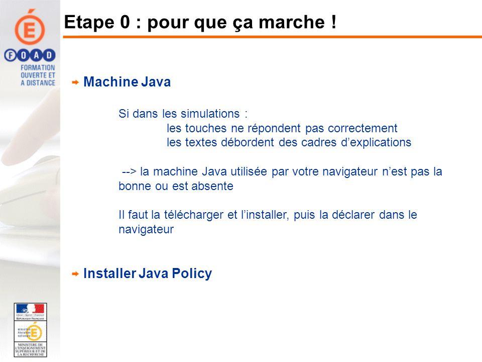 Machine Java Si dans les simulations : les touches ne répondent pas correctement les textes débordent des cadres dexplications --> la machine Java uti